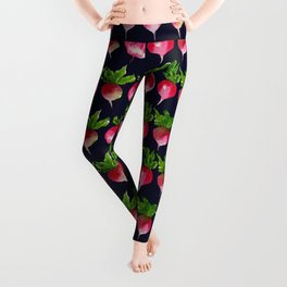 Watercolor radish seamless pattern Leggings