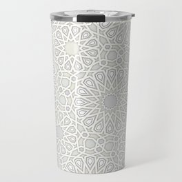 White Moroccan Tiles Pattern Travel Mug
