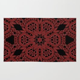 Red Lace Pattern Rug