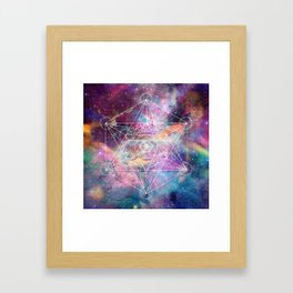Watercolor and nebula sacred geometry  Framed Art Print