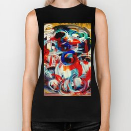 Abstract Action American Painting Biker Tank