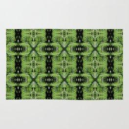 Tropical Green Ferns & Leaves Pattern Rug