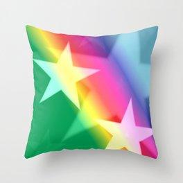 Rainbow Stars Throw Pillow