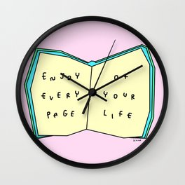 Enjoy Your Life - Book Illustration Wall Clock