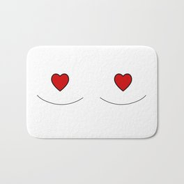 Illustrated Boob Outline (Red Hearts) Bath Mat