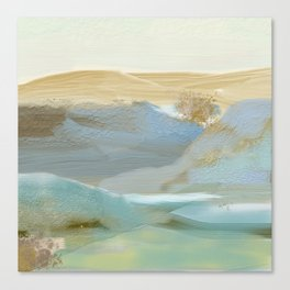 Southwestern Blue, Bronze, Abstract Landscape Painting Canvas Print