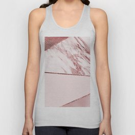 Spliced mixed pinks rose gold marble Unisex Tank Top
