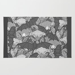 VINTAGE GREY BATS & WHITE LILIES Rug