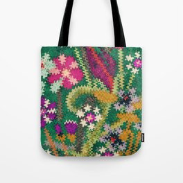 Starry Floral Felted Wool, Green Tote Bag