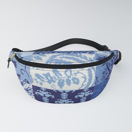 Blue and White Patchwork Squares Fanny Pack