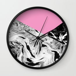 Pink Black and White Marble Colour Blocking Wall Clock