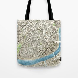 New Orleans City Map Tote Bag