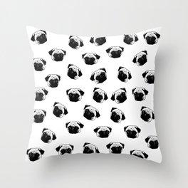 Pug dog pattern Throw Pillow
