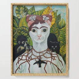 Frida the cat: Self-Portrait with Thorn Necklace and Hummingbird Serving Tray