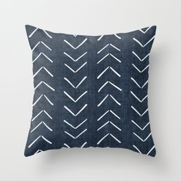Mud Cloth Big Arrows in Navy Throw Pillow