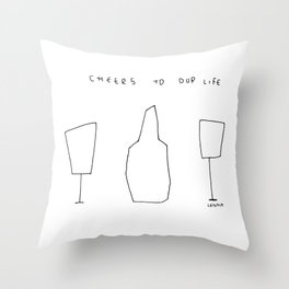 Cheers To Our Life - wine champagne glasses illustration Throw Pillow