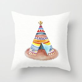 Tepee watercolor Throw Pillow