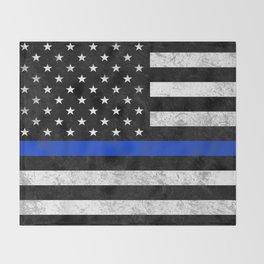 Thin Blue Line Flag 2 Throw Blanket