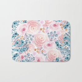 Blush pink blue coral watercolor hand painted floral Bath Mat