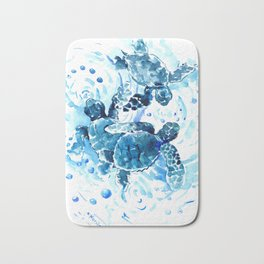 Three Sea Turtles, blue bathroom turtle artwork, Underwater Bath Mat