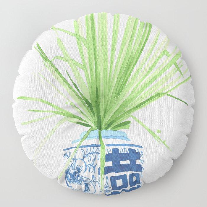 Ginger Jar + Fan Palm Floor Pillow