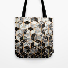 Marble Cubes - Black and White Tote Bag