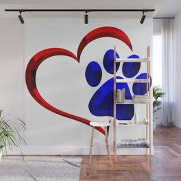 Paw Print on My Heart Wall Mural
