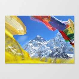 Summit of mount Everest or Chomolungma - highest mountain in the world, view from Kala Patthar,Nepal Canvas Print