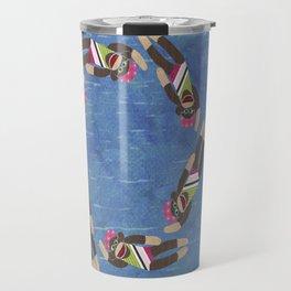 Sock Monkey Water Ballet Vertical Travel Mug