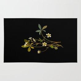 Saxifragia Granulata and Potentilla Alba Cinquefoil Paper Flower Collage Vintage Botanical Floral Rug