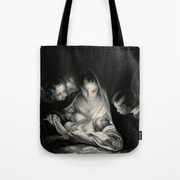 The Nativity, Virgin Mary with Infant Jesus surrounded by Angels Tote Bag