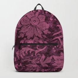 Burgundy Turquoise Velvet Floral Pattern 03 Backpack