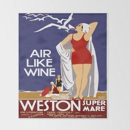Vintage Weston Super Mare England Travel Throw Blanket