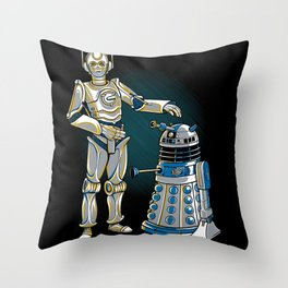 Cyber3PO and R2Dalek Throw Pillow