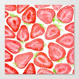 Watercolor strawberry slices pattern Canvas Print