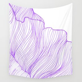 Sea waves line illustration Purple Modern Minimalist drawing. Wall Tapestry