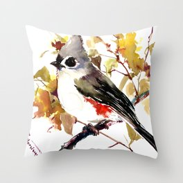 Titmouse on Fall Tree Throw Pillow