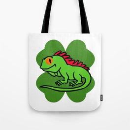 Iguana On 4 Leaf Clover- St. Patricks Day Funny Tote Bag