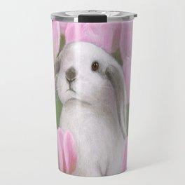 Bunny and Tulips Travel Mug
