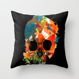 water color skull Throw Pillow