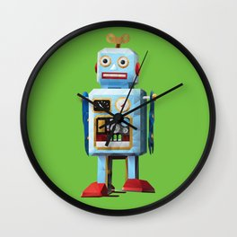 Retro Tin Toy Robot Polygon Art Wall Clock