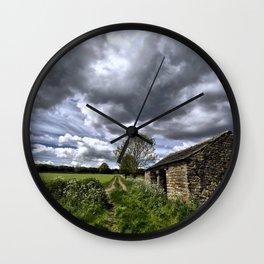 Green Stones Countryside Farm House Wall Clock