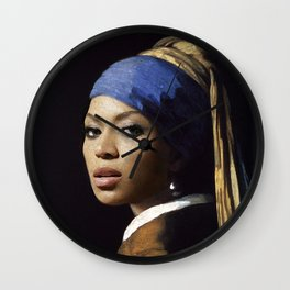 Bey with a Pearl Earring Wall Clock
