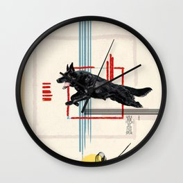 Dog in Action Wall Clock