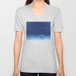 Follow the garland of stars, ocean, sailboat Unisex V-Neck