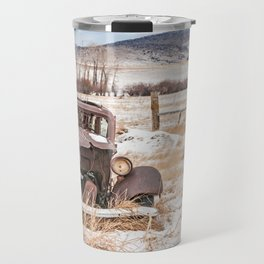 Rusty, Antique Auto in a Snow-Covered Field Travel Mug