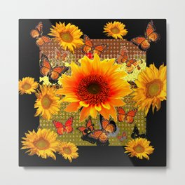 Golden Yellow  Red Sunflowers Black art Butterflies Metal Print
