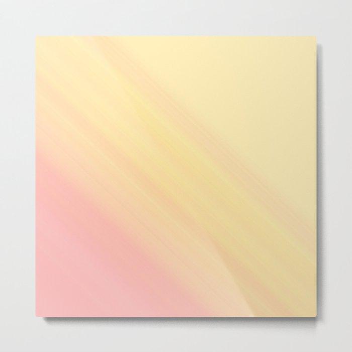 Pastel Ombre Millennial Pink Yellow Diagonal Stripes | Peach, apricot gradient pattern Metal Print