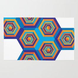 Orange and Blue Hexagones Rug