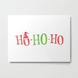 HO HO HO Christmas Elements Design Metal Print